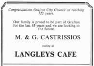 Langleys Cafe advertisement.