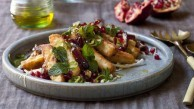 Fried haloumi with white cabbage, date and green chilli salad