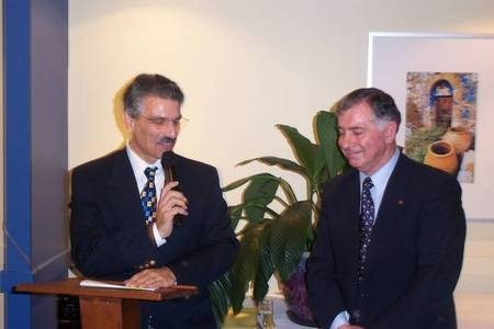 Councillor Comino, Woolhara Council, with Professor Harry Poulos