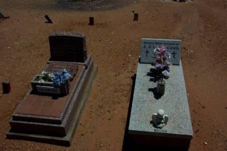 Ollie Constandinou (Tzortzo)Poulos. Gravesite marker, looking across Thomas and Cook graves.