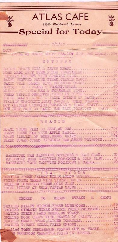 Atlas cafe menu 3-1-43 Nicholas D. Gavriles Highland Park, Michigan