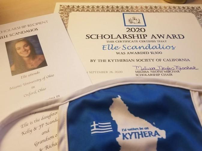 KSOCA 2020 Scholarship awarded to Elle Scandalios
