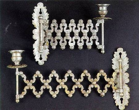 Byzantine Art Collection - Livadi - Church of the Ascension - Two silver-plated candlesticks. Found in the church of the Metamorphosis at Keramoto