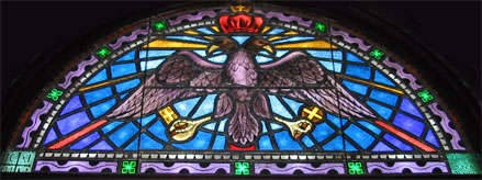 Double Headed Eagle iconology of Byzantium. - Stained glass window in St Nicholas Greek Orthodox Cathedral in Tarpon Springs, Florida