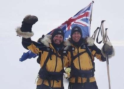 Starving and dying for a beer, duo finish South Pole return trip - James Castrission and Justin Jones at Hercules Inlet