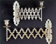 Two silver-plated candlesticks. Found in the church of the Metamorphosis at Keramoto
