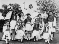 School students dressed in traditional Greek costume for a concert in Brisbane, ca, 1920