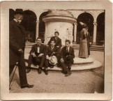 Emmanuel Cavacos and his Paris friends. Cavacos is seated at center and holding a white hat Paris August 22 1912
