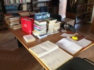 Donated books awaiting cataloguing.