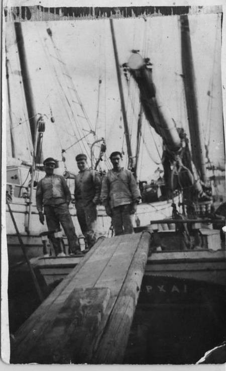 Harry Aliferis on a fishing vessel at Neapolis, early 1930's.
