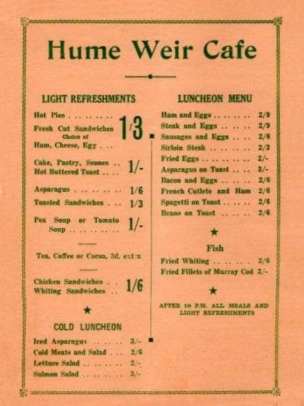 Menu from the Hume Weir Cafe, Albury NSW