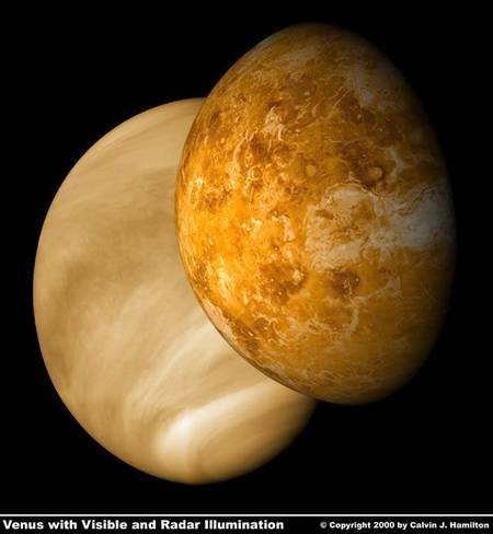 Venus - the PLANET - Facts and stats - Venus with Visible and Radar Illumination