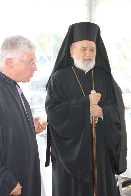 The Foundation Stone is set, at the ceremony held on the church site of Saint Haralambos, Tuggerah - 03 Saint Harry 3