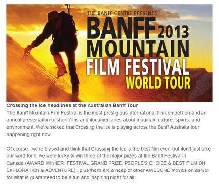 Cas & Jonesy promote the film of their extraordinary adventure in the Antarctic - Cas BANFF Mountain Film Festival 2013