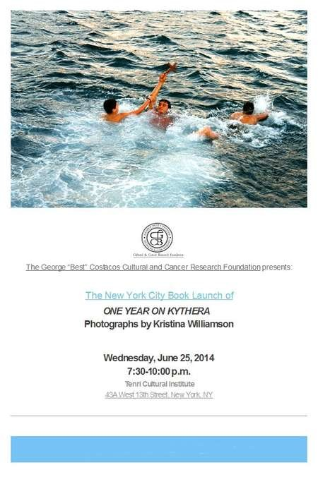 The New York City Book Launch of ONE YEAR ON KYTHERA - Williamson Kristina Book launch