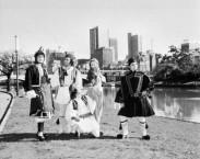 Greek-Australians model their national dress on the banks of the Yarra River, Melbourne, 1981.