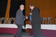 Receiving an award at the 40th anniversary celebration for the Albury City Soccer Club
