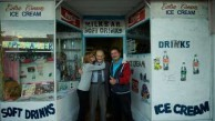 George Poulos with his daughter, Aphrodite, and son, Nik, outside his milk bar in 2014.