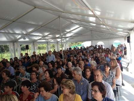 Just a part of the large congregation in attendance at the feast day celebrations for Ayios Haralambos